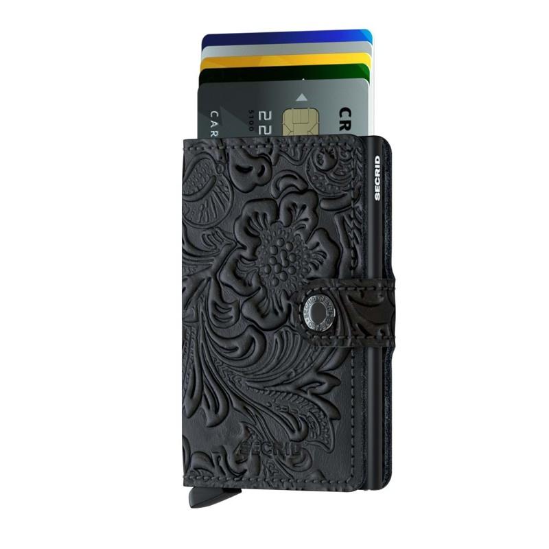 Secrid Kortholder Mini wallet Sort/med blomster 2