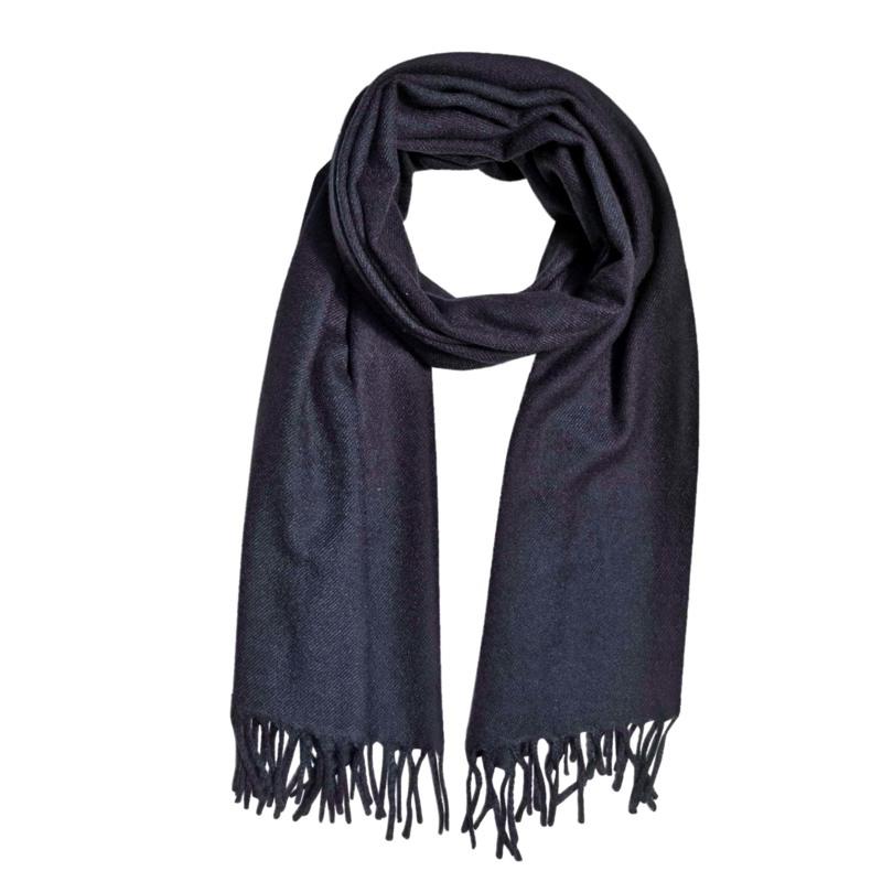 Tørklæde, Solid wool mix Sort 1