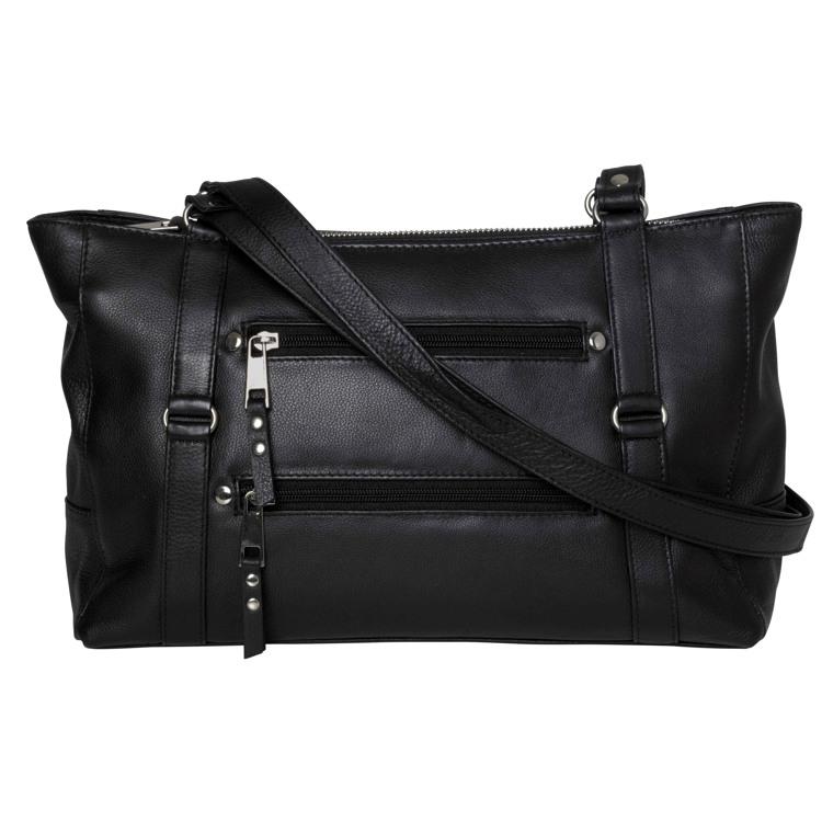 Aura shopper med 2 lommer på front Sort 1