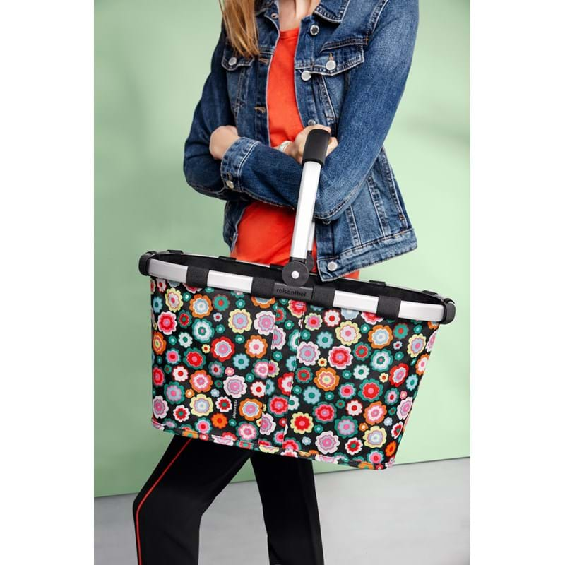 Reisenthel Indkøbskurv Carrybag Sort/med blomster 3