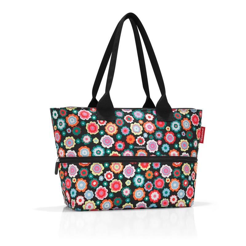 Reisenthel Shopper E1 Sort/med blomster 1