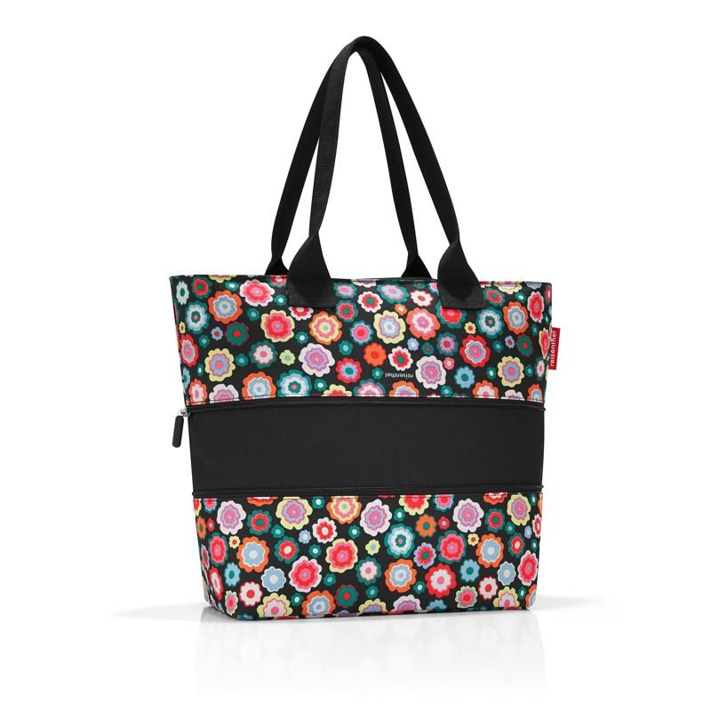Reisenthel Shopper E1 Sort/med blomster 2