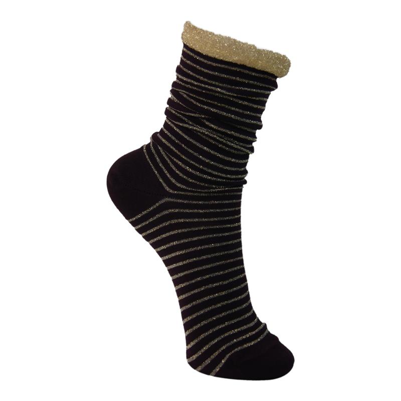 Glimmerstrømpe-Lurex striped Guld 1