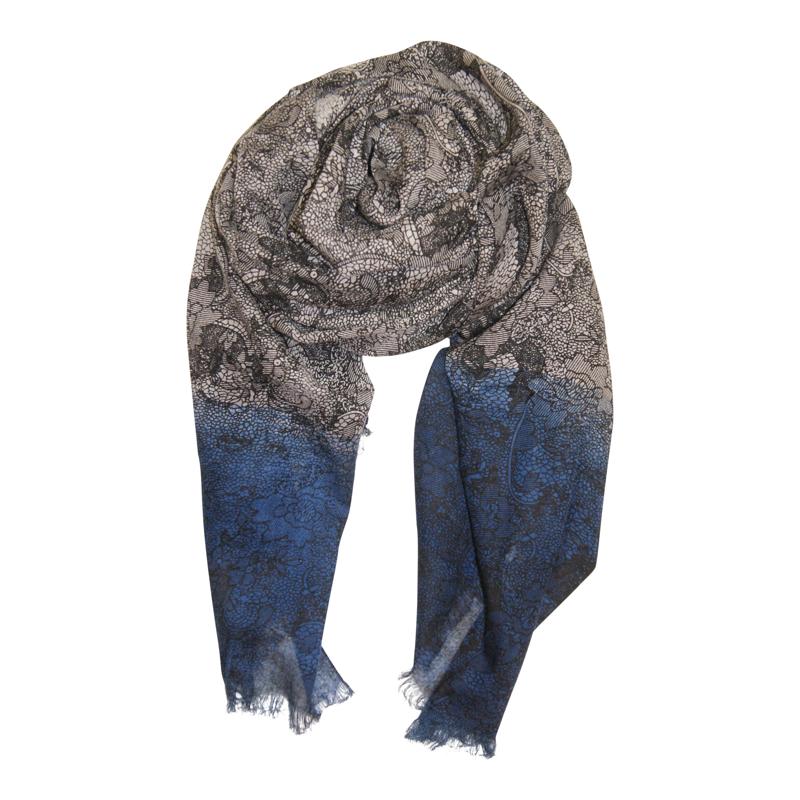 Tørklæde - Lace scarf Grå/blå 1