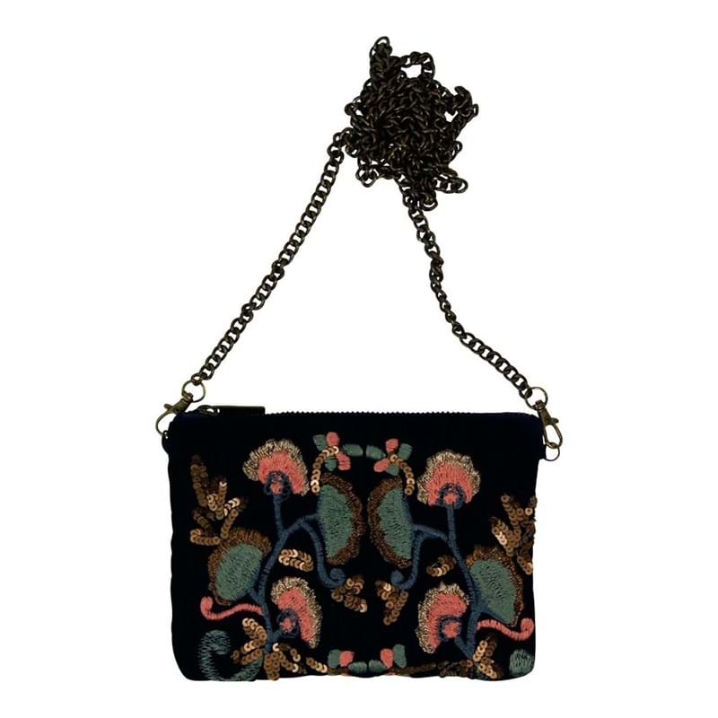 Clutch Velvet embroidered mini Navy 1