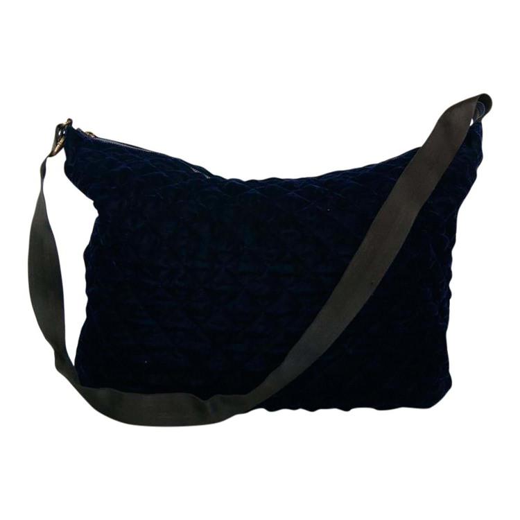 Taske Velvet big quilted bag Navy 1