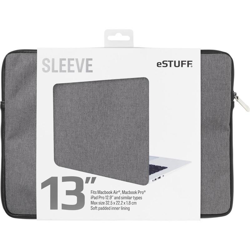 """Estuff Sleeve -MacBook Pro/Air""""13 Grå 1"""