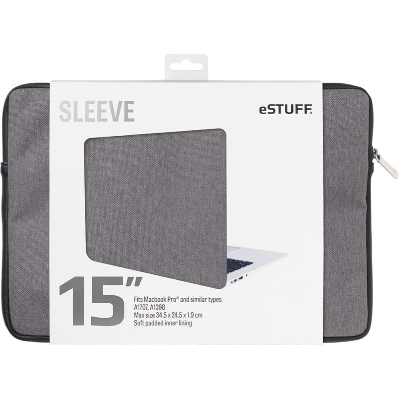 "Estuff  Sleeve MacBook Pro""15"" Grå 1"