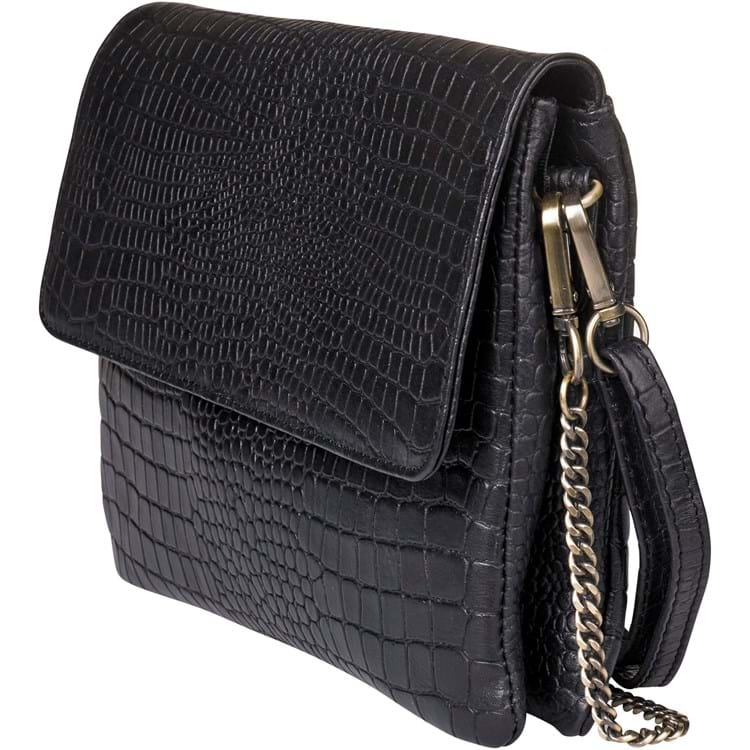 Aura Crossbody large croco Sort 1