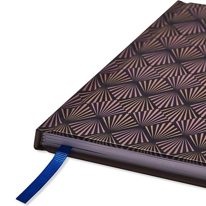 Adax Notebook, Art Deco A5  Blå/mønster 2