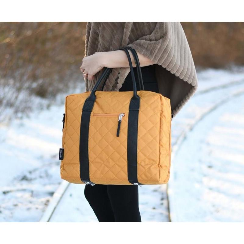 Manostiles Pusletaske Luksus med læder Karry gul 4