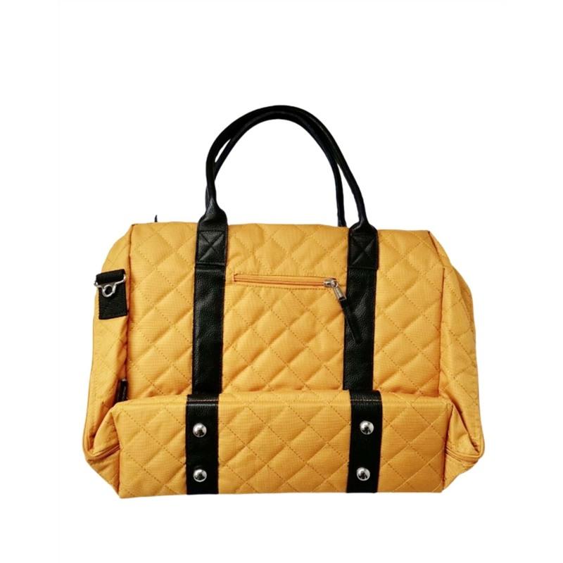 Manostiles Pusletaske Luksus med læder Karry gul 2