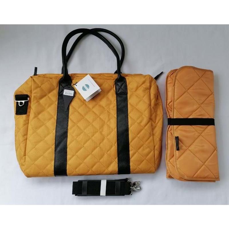 Manostiles Pusletaske Luksus med læder Karry gul 3