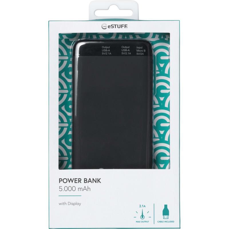 Estuff Powerbank 5.000 mAh med LED st Sort 3