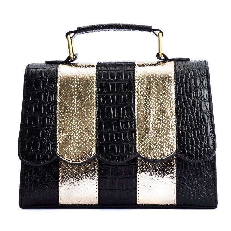 Håndtaske Guld/sort 1