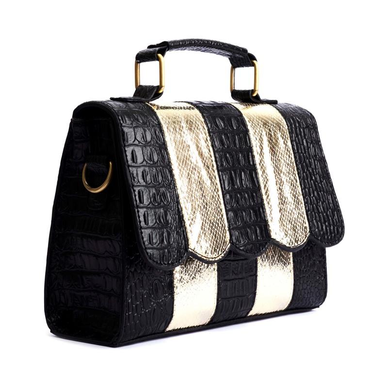 Håndtaske Guld/sort 3