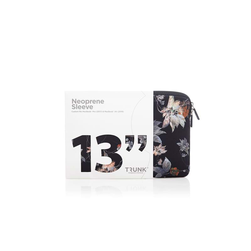 Trunk Sleeve MacBook Pro Air Sort/med blomster 2