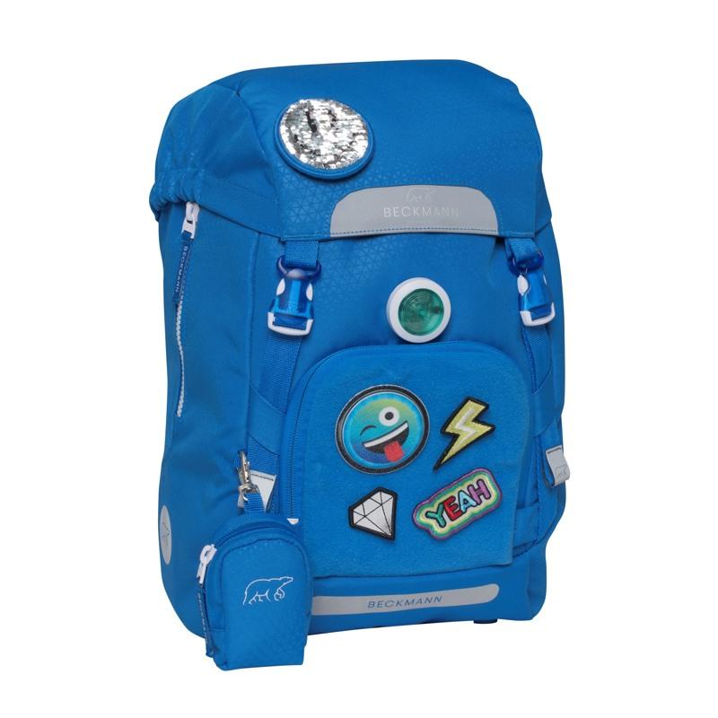 Beckmann Skoletaske Classic Patch blå med patch 2