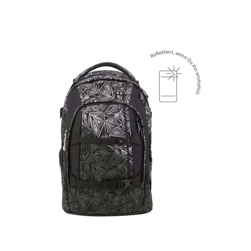 Satch Skoletaske Pack Sort m/mønster 3