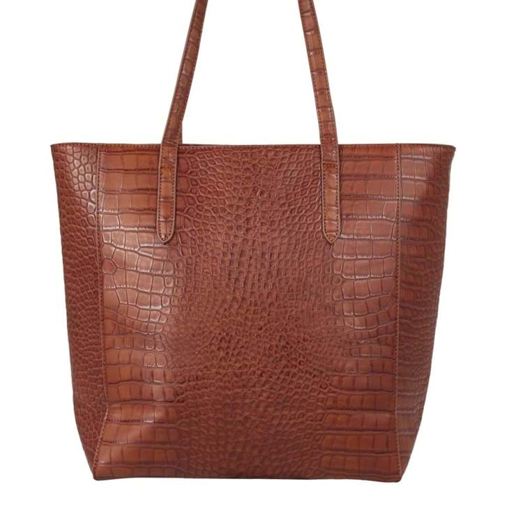 Saint Sulpice Shopper Brown Croco 1