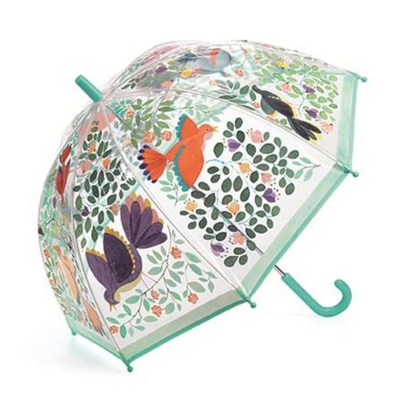 DJECO Børneparaply Flowers & birds Grøn mønster 1