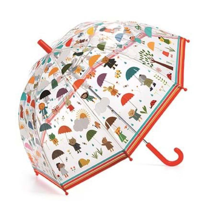DJECO Børneparaply Under the rain Orange/rød 1