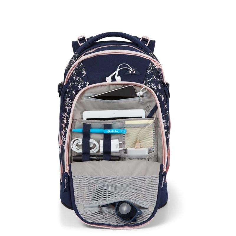 Satch Skoletaske Pack Blå m/blomst 10