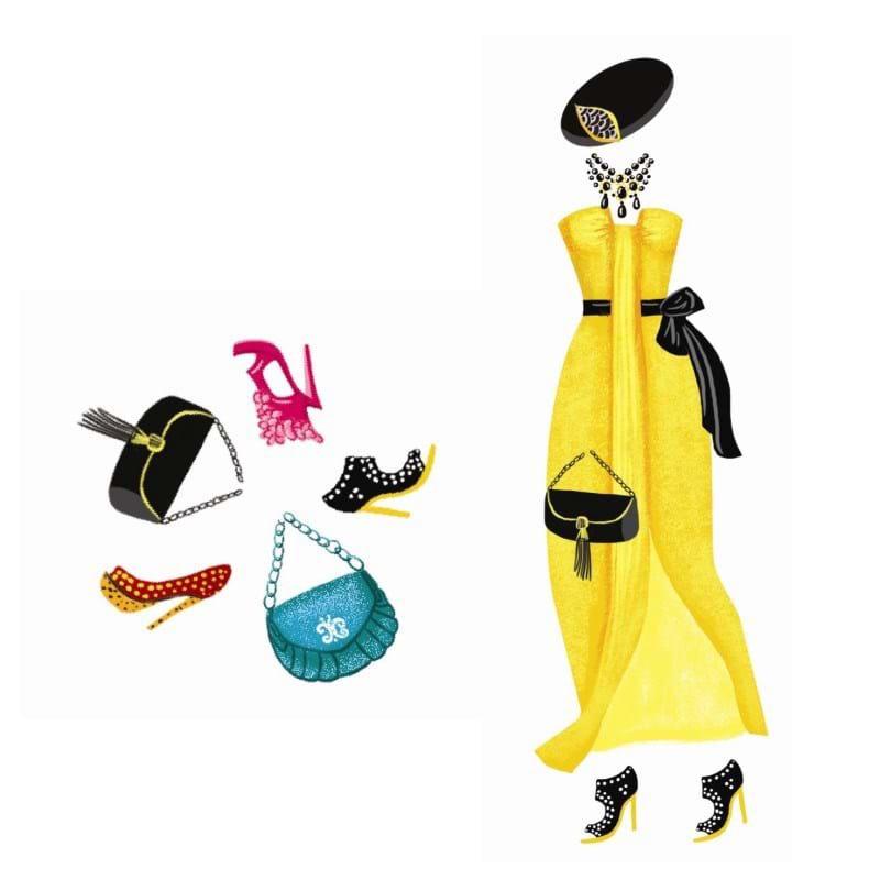 DJECO Påklædningsdukkekort Modetøj Multi 3