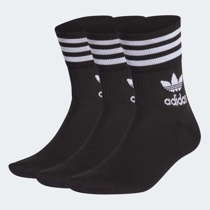 Adidas Originals Strømper Mid Crew 3-pak 43-46 Sort 1