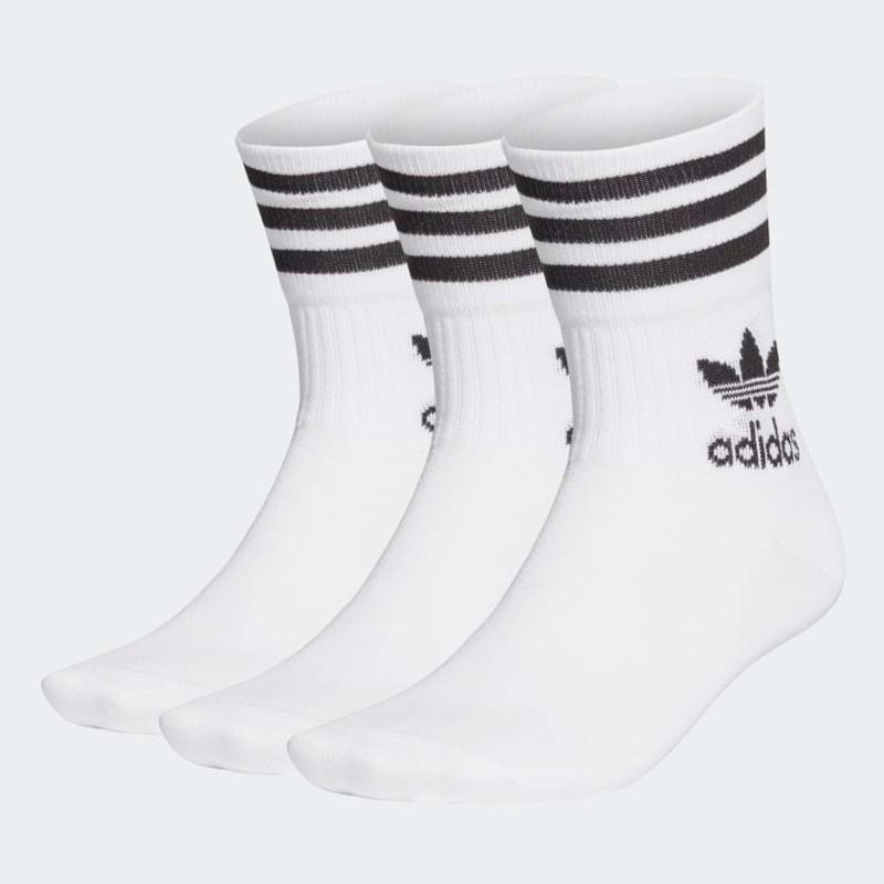 Adidas Originals Strømper Mid Crew 3-pak 43-46 Hvid 1