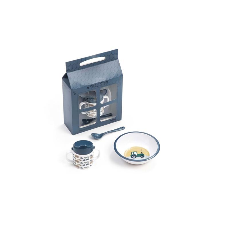 Smallstuff Gaveæske,kop,ske og tallerken Blå 1