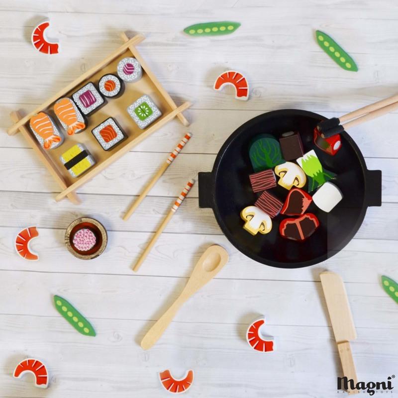 Magni Sushi-sæt i træ  Multi 2