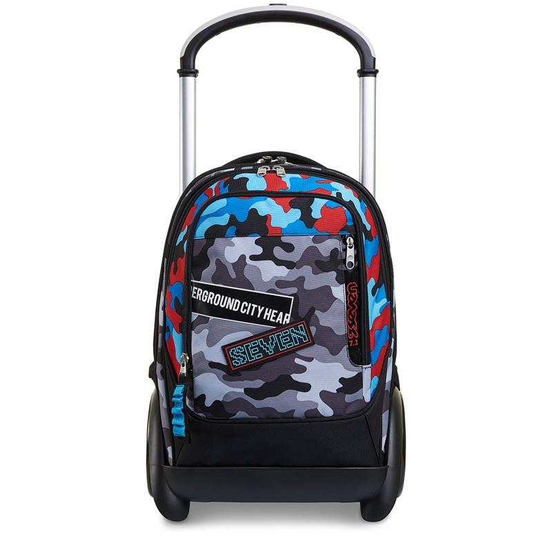 Seven Trolley skoletaske  Blå camuflage 1