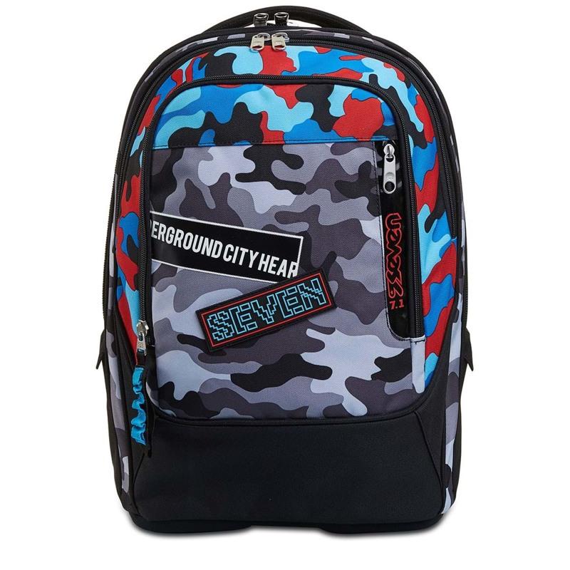Seven Trolley skoletaske  Blå camuflage 3