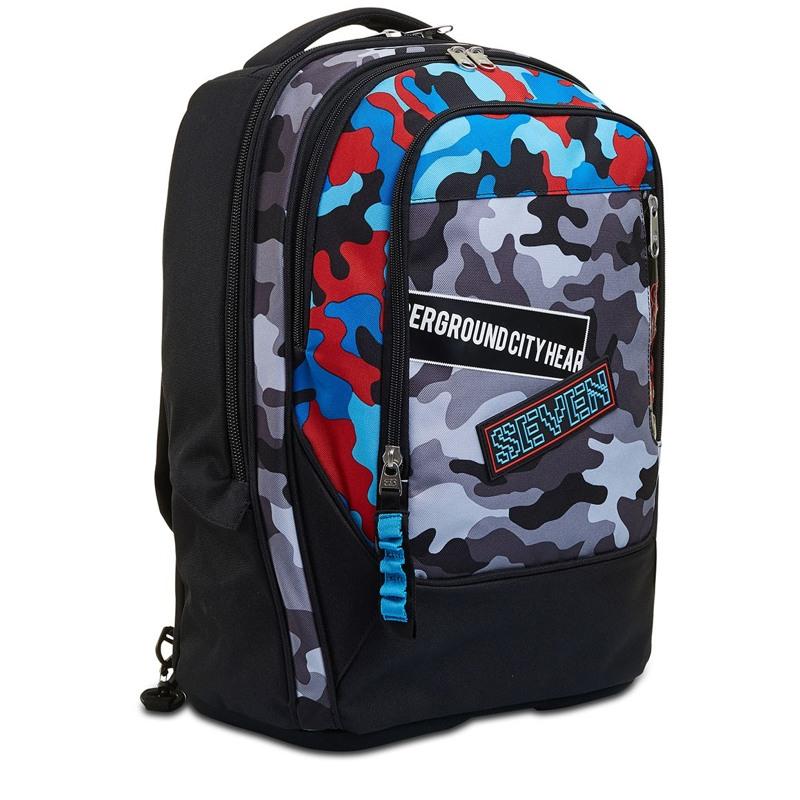 Seven Trolley skoletaske  Blå camuflage 4