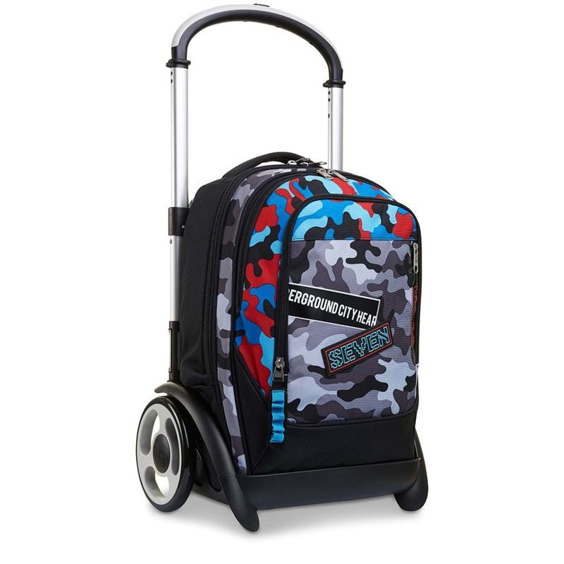 Seven Trolley skoletaske  Blå camuflage 7